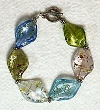 Art Glass Bead Bracelet Various Translucent Pastel Colors With Silver Accents