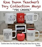 "Rae Dunn Mug Teacher Collection #TEACHER LIFE HISTORY MATH ""'YOU CHOOSE"" NEW '20"