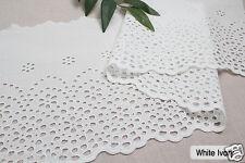 "1y Embroidery scalloped cotton eyelet lace White-Ivory 10"" (25cm) sh3 laceking"
