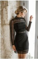 LORETA • Size L • BNWT Lace Crochet High Neck Black Dress RRP $129