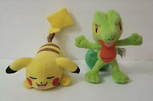 Pokemon Lot of 2 Plush Treecko & Pikachu sleeping.