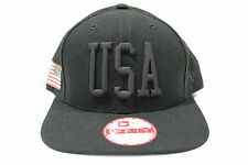 New Era Men's 950 USA Flag Black-Out Olympic Snap-Back Hat One Size