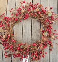 Deko Kranz 27cm Zapfen Dunkel Rot Türkranz Herbst Wandkranz Früchte Beeren Draht