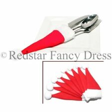 Santa Hat Polyester Christmas Table Cutlery Holders