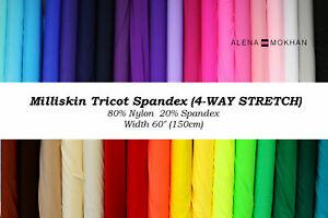 76 COLORS - 1 yard Milliskin Nylon Spandex 4-WAY Stretch Fabric BTY Dance