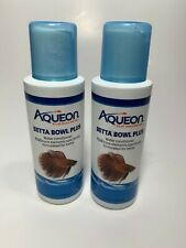2x 4oz Aqueon Betta Fish Bowl Plus Formulated Beta Tank Water Conditioner 09/22