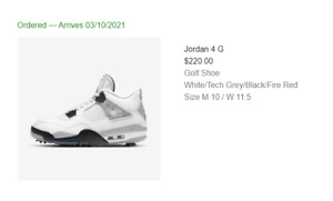 Nike Air Jordan 4 Retro Golf White Cement CU9981-100 Men's Size 10 CONFIRMED