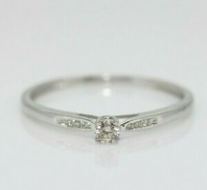 9ct White Gold 0.11ct Diamond Solitaire Ring Size M 1/2, US 6 1/2