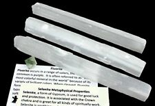 "4 Selenite Large Sticks, approx. 6"" long each, Wands & FREE Fluorite Octrahedron"