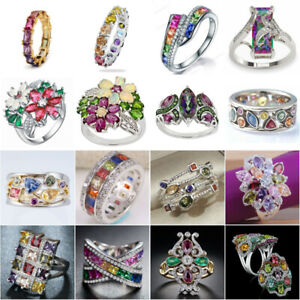 925 Silver Rings Cubic Zirconia Pretty Jewelry for Women Wedding Ring Size 6-10