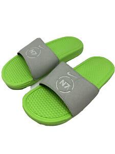 New Men's Nike Benassi N7 Slides CV0267 001 Green Spruce Bright neon sandals