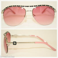 Aviator DG Womens Sunglasses Fashion Eyewear Designer Shade Leather HOT Pink
