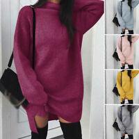 Dress Winter Autumn Knitwear Sweater Long Womens Loose Neck Turtle Sleeve Jumper