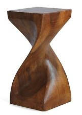 Small Wooden Helix Twist side table stool lamp plant speaker stand Acacia. HB