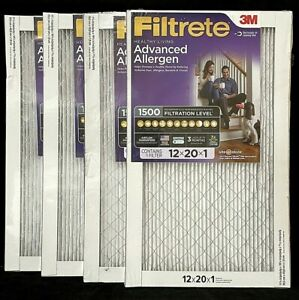 Filtrete 3M Advanced Allergen 4 Pack Air Filters 12x20x1 MPR 1500