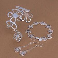 Hot 925 Silver plated Flower Bracelet Earrings Rings Necklace Jewelry Sets S235