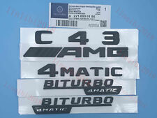 """C43+AMG+4 MATIC+BITURBO"" Letters Trunk Embl Badge Sticker for Mercedes Benz 1#"