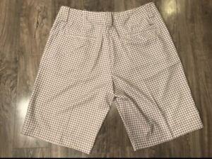 Nike Golf Fit Dry womens shorts houndstooth brown khaki NWT Sz 12