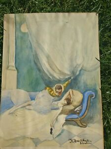 A very interesting Russian watercolour painting, original, signed, pre-owned.