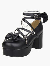 Black Platform Chunky Heels Lolita Shoes PU Ankle Straps Bow Decor Round Toe 9.5
