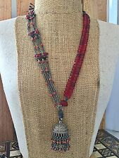 Antique Afghan Coral Silver Choker Trade Beads Necklace