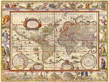 MAP ANTIQUE WORLD DECORATIVE ORNATE 30X40 CMS FINE ART PRINT ART POSTER BB8220