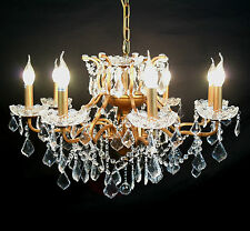 French Style 8 Arm Branch Gold Shallow Cut Glass Chandelier