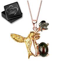 Echter schwarzer Opal Halskette mit Anhänger für Damen Frau 925 Silber Gold L38