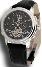 Perigaum Excalibur Dual Time Zone Watch - Black Dial  P-0502-SSS