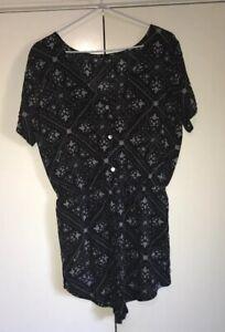 RUSTY Playsuit Jumpsuit Size 8 Black & White Print Excellent Condition