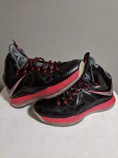 watch adb2c f9adf Lebron 10 X Pressure black red white bred Size 9 Nike plus