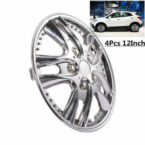 4Pcs/ Set 12 inch Car Chrome Wheel Rim Skin Cover Hub Caps Hubcap Cover SILVER