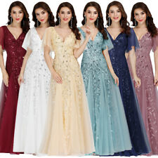 Ever-Pretty Long Wedding Dress Party Evening Dress Maxi Embroidered V-Neck Prom