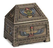 "5"" Egyptian Heart Scarab & Isis Trinket Box Egypt Home Decor Sculpture"