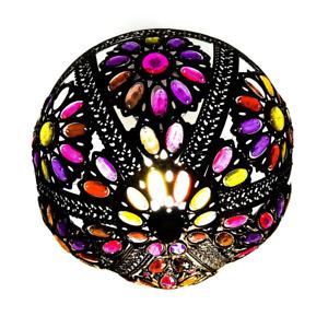 Bronze Effect Moroccan Turkish Multi Coloured Jewelled Light Shade Uplighter