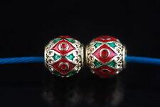 Wholesale 10ps Thai Wind Enamel Metal Beads Loose Spacer Jewelry Findings 7*7mm