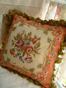 "16"" Elegant Aubusson Design Full Emboridery Pillow Cushion Cover Rose Floral"