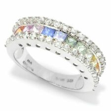 Meher's Jewelry SS 2.74ct Multi Color Sapphire & White Zircon SS Ring Size 6 & 8