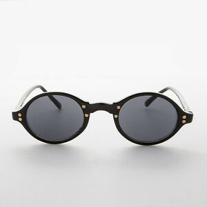 Oval Black with Gray Lens Vintage Sunglasses with Gold Studs - Harley