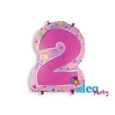 PALLONCINO mylar NUMERO 2 h 63 cm Rosa sagomato, Addobbi festa Compleanno bimba
