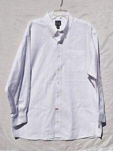 Jos A Bank Traveler's Collection Red Pinstripe Button Down Dress Shirt Sz 18-34