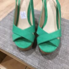 OFFICE Ladies New  Very High Wedge Shoes Cork And Green Suede/ Where £50 Size 38
