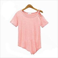 New Women Short Sleeve Off Shoulder Buckle Irregular T-shirt Cotton Blouse Tops
