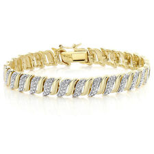 18K Yellow Gold Plated Tennis Bracelet with Diamond Accent 7 Inch