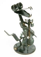 "Very Interesting Metal Hand Created Figurine ""Crocodile With Cello"". Unusual. Ex"