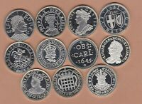 11 HALLMARKED KINGS & QUEEN'S SILVER MEDALS IN NEAR MINT CONDITION.