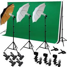 Photo Studio Lighting Photography 3 Backdrop stand Muslin 3 Light Kit Umbrella S