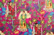 Indio Hecho a Mano Bloque Sanganeri Estampado Rosa Frida Kahlo Tela Por YD