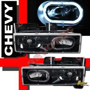 88-98 Chevy GMC Suburban Tahoe CK 1500 2500 Yukon Halo Headlights Black RH + LH