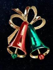 Vintage Gerry's Bell pin/brooch Gold tone, Red and Green.